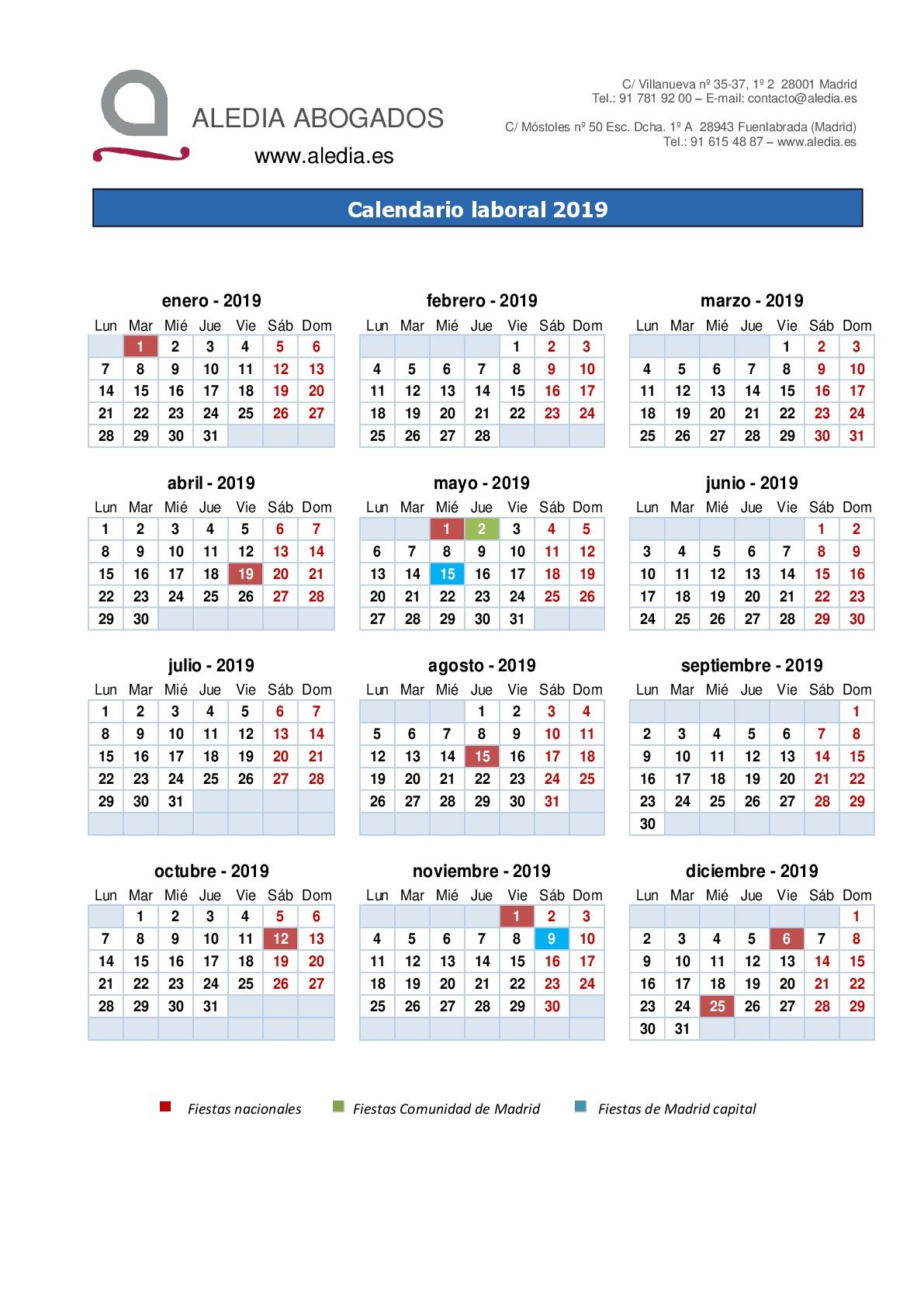 Boe Calendario.Calendario Laboral 2019 Aledia Abogados